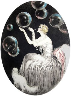 Louis Icart etching Bubbles
