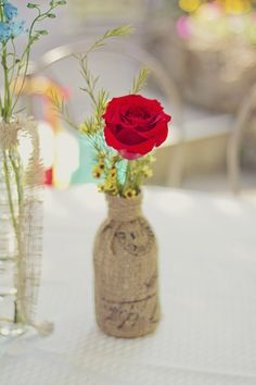 Turquoise, Red, Yellow And Burlap - Beautiful colors and so simple. Sister Wedding, Wedding Vows, Wedding Things, Rustic Wedding, Our Wedding, Dream Wedding, Tulip Wedding, Wedding Colors, Wedding Flowers