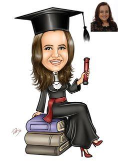 Caricaturas digitais, desenhos animados, ilustração, caricatura realista: Caricatura de formatura de direito feito para Mari...