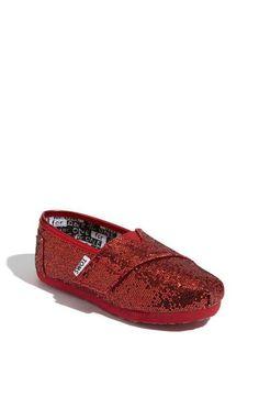 Red Glitter Slip-On's