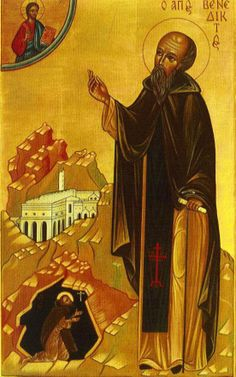Benedict is believed to have been born around as the son to a Roman noble of Norcia and the twin to his sister, Scholastica. In the fifth century, the young Benedict was sent to Rome to . Religious Icons, Religious Art, Rule Of St Benedict, Saint Benoit, Catholic Online, Fra Angelico, Art Through The Ages, Religion Catolica, Saint Esprit