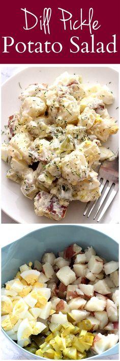 Pickle Potato Salad Dill Pickle Potato Salad Recipe - a creamy potato salad with pickles and eggs, tossed with creamy dill dressing.Dill Pickle Potato Salad Recipe - a creamy potato salad with pickles and eggs, tossed with creamy dill dressing. Dill Pickle Potato Salad Recipe, Creamy Potato Salad, Potato Salad With Egg, Hot Potato Salads, Pickles Recipe, Healthy Recipes, Vegetarian Recipes, Cooking Recipes, Vegetarian Salad
