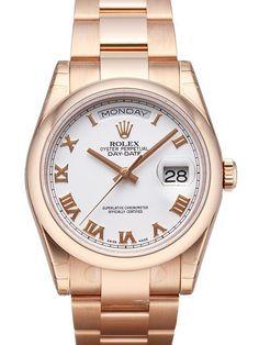 Rolex Day-Date 36 118205 Everose-Gold Weiß Römisch