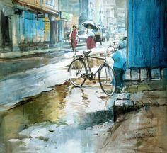 සිත්තර වරුණ: දිය සායම් චිත්රශිල්පී Millind Mulick -An Indian Artist