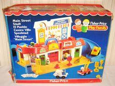Vintage Fishrer Price Main Street - box front Jouets Fisher Price, Vintage Fisher Price, Little People, Main Street, Vintage Toys, Toy Chest, Maine, Fun, Old School Toys