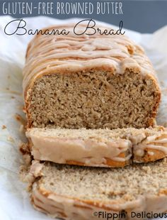 Who doesn't love sweet gluten-free banana bread, especially when it is covered in nutty browned butter frosting. #glutenfree