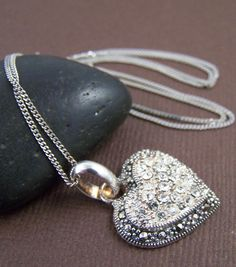 Marcasite Sterling Silver Vintage Heart Pendant Marcasite and CZ encrusted pendant by StoneStreetStudio on Etsy, $39.00
