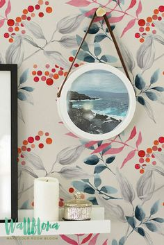Watercolour Rowan Pattern Wallpaper | Removable Wallpaper | Rowan Wallpaper | Rowan Wall Sticker | Rowan Wall Decal | Rowan Self Adhesive Wallpaper