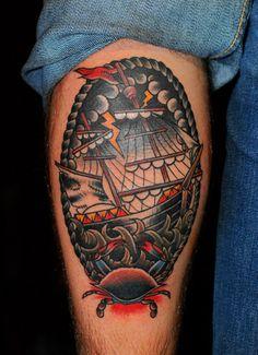 Traditional ship calf piece  rough seas.... #tattoo #calfpiece #sailor #oldschool #traditional #roughseas #westlondon #shiptattoo #crabtattoo #sealife