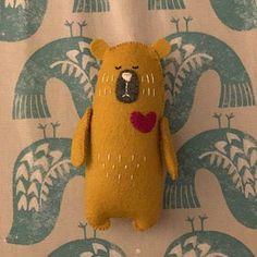 Stuffed Bear In Knitted Scarf Felt Bear Felted Miniature Wolf Stuffed Animal, Stuffed Animal Patterns, Stuffed Bear, Stuffed Toy, Bear Felt, Felt Fox, Fox Toys, Teddy Bear Toys, Fabric Animals