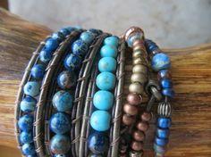 Leather Wrap Bracelet  3 Traditional Wraps by OrnamentationbyMary, $48.95