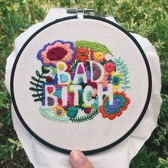 tag your favorite bad bitch Just spent the last five hours straight working on this and I can hardly feel my fingers but I'm glad it's done! Just have to get the right size hoop for it and it will be listed in the shop.