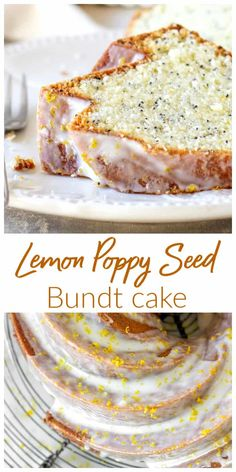 Lemon Poppy Seed Bundt Cake: this is probably my favorite lemon cake ever! - Lemon Poppy Seed Bundt Cake: this is probably my favorite lemon cake ever! The addition of poppy se - Food Cakes, Cupcake Cakes, Cupcakes, Köstliche Desserts, Dessert Recipes, Moist Cake Recipes, Drink Recipes, Lemon Bundt Cake, Lemon Poppyseed Bundt Cake Recipe