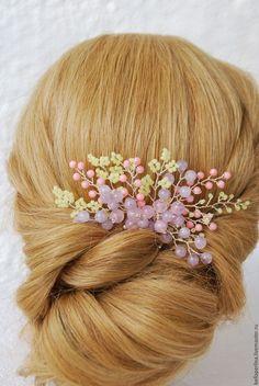 """Купить Гребень """"Ягодное лето"""" - бледно-розовый, прическа невесты, прическа на свадьбу"""
