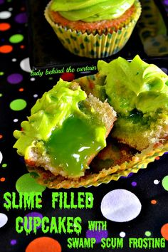 Slime Filled Cupcakes with Swamp Scum Frosting. So fun for the kids on Halloween!