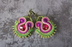 Soutache earrings with Swarovski, soutache orecchini by AnnaZukowska on Etsy