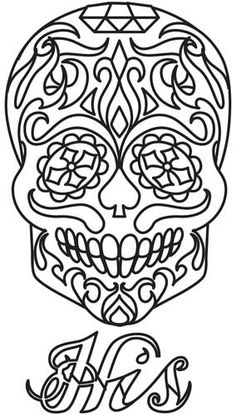 "Sugar Skull - His design (UTH5316) from UrbanThreads.com 5.39""w x 9.41""h"