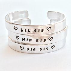 Setje armbanden voor de grote zus, kleine zus en het middelste zusje - Big sis - Lil sis - Mid sis