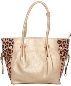 Lt Gold/Leopard Print~Leatherette~Tote Bag~Handbag~Satchel~Purse~Rockabilly~Punk #Unbranded #SatchelToteBag