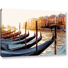 ArtWall Linda Parker Gondolas Of Venice  Gallery-Wrapped Canvas, Size: 16 x 24, Silver