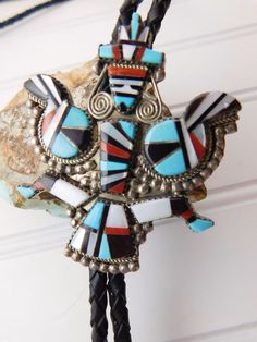 Stamped makersmark 'H E Cellicion ZUNI'. Classic Knifewing Kachina Motif. Beautiful Zuni Lapidary work using Red Coral, Turquoise, Jet and Mother of Pearl. Sterling Silver Jewelry. | eBay!