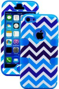 Sky Blue + Blue and White Chevron 3 Layer (Hybrid Flex Gel) Grip Case for New Apple iPhone 5C Touch Phone