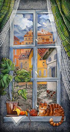 Best seat in the house...Mariya Kaminskaja Window with a Cat.  #orange tabby