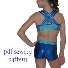 Training Wear Separates 3 crop singlet tank shorts gymnastics dance