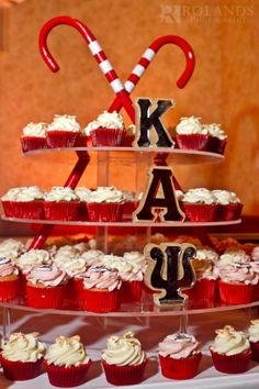 red and white color scheme; The Cupcake Collection Purple Wedding Cakes, Wedding Cakes With Flowers, Wedding Cupcakes, Wedding Cake Toppers, Flower Cakes, Kappa Kappa Psi, Kappa Alpha Psi Fraternity, Cream Wedding, Gold Wedding