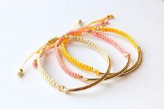 Gold Tube Macrame Bead Bracelet