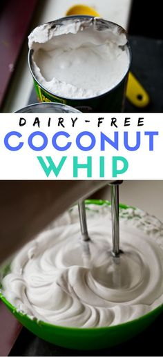 How to make coconut whip dairy-free topping, using coconut milk and coconut cream. Vegan recipe!