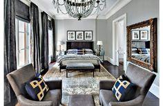 Transitional gray master bedroom