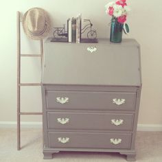 Chalk Painted French Linen and Old White Secretary Desk with Large Damask Stencil- shabby chic furniture White Secretary Desk, Secretary Desks, Shabby Chic Furniture, Painted Furniture, Refinished Desk, Damask Stencil, Small Drawers, Home And Deco, Annie Sloan