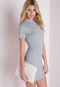 Missguided - High Neck Open Back Ribbed Dress Grey