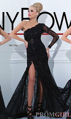 Long Black One Sleeve Formal Gown at PromGirl.com