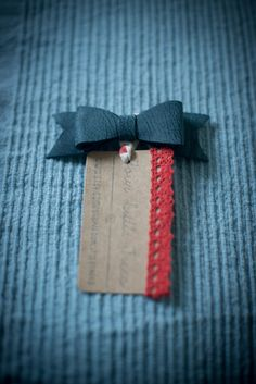 Blue Leather Bow Hair Beret Clip by FourLittleTrees on Etsy, £5.00