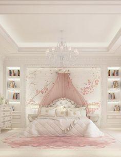 Luxury Girl Bedroom Design Ideas To Inspire you Interior Design - Bedroom Design: Luxury Girl Bedroom Design Ideas To Inspire you In… - Dream Rooms, Dream Bedroom, Home Bedroom, Bedroom Decor, Luxury Kids Bedroom, Trendy Bedroom, Luxury Bedding, Feminine Bedroom, Bedroom Furniture