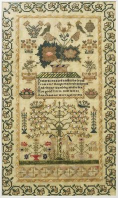 Sampler, made in Cefn-coed-y-cymer, 1846 ::: Gathering the Jewels