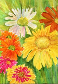 Hey, I found this really awesome Etsy listing at http://www.etsy.com/listing/171868388/original-watercolor-painting-zinnias-art