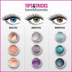 Bare Minerals eye-makeup tips & tricks chart. Purple is the best pigment for green eyes. pinks for blues and blues for browns http://mytopface.com