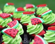Watermelon Cake and Watermelon Cupcakes - Rose Bakes