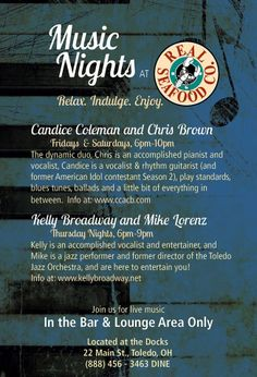 Music Nights at Real Seafood Co. Join us for live music in the bar and lounge area only. Seafood Company, American Idol, Sounds Like, Live Music, Restaurants, Blues, Join, Relax, Lounge