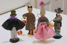 Halloween Paper dolls with fabric, etc.