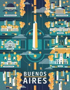 Buenos Aires illustration - Cosmópolis / Revista Aire by Aldo Crusher Travel Illustration, Flat Illustration, Graphic Design Illustration, Illustrations Pop, Map Design, Detail Design, City Maps, Vintage Travel Posters, Map Art