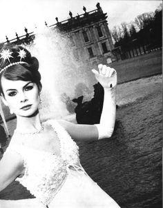 Love the hair piece tiara (Jean Shrimpton  Photo by David Bailey, Vogue UK, 1965)