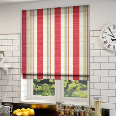Truro Stripe Candy Red Roman Blind