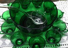 Forest Green Anchor Hocking Glass Vintage Punch Bowl Set With Stand, 12 Cups and Clear Glass Ladle, 16 Piece Set on Etsy, $50.00