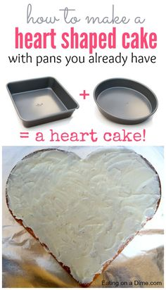 How to Make a Heart Shaped Cake with Pans you already have! I am going to show you how to make a heart shaped cake using one square and one circle cake pan. An easy Valentine's Day dessert!