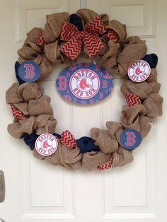 Boston Red Sox Burlap Wreath on Etsy, $62.00