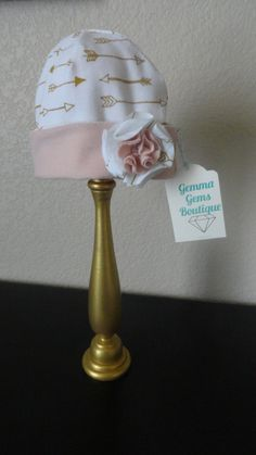 Reversible Cream & Gold Arrow and French Terry Knit Pink Hat by GemmaGemsBoutique on Etsy
